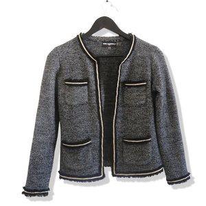 KARL LAGERFELD Fringe Trim Open Tweed Blazer